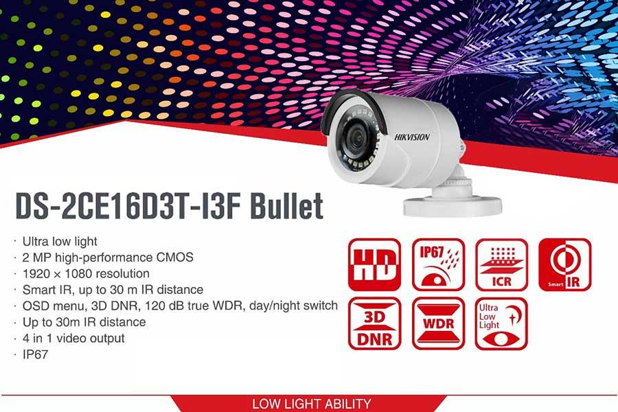 دوربین مدار بسته Turbo HD هایک ویژن 2 مگا پیکسل مدل DS-2CE16D3T-I3F